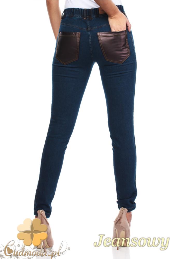 CM1022 Jeansowe legginsy ze skórzanymi kieszeniami