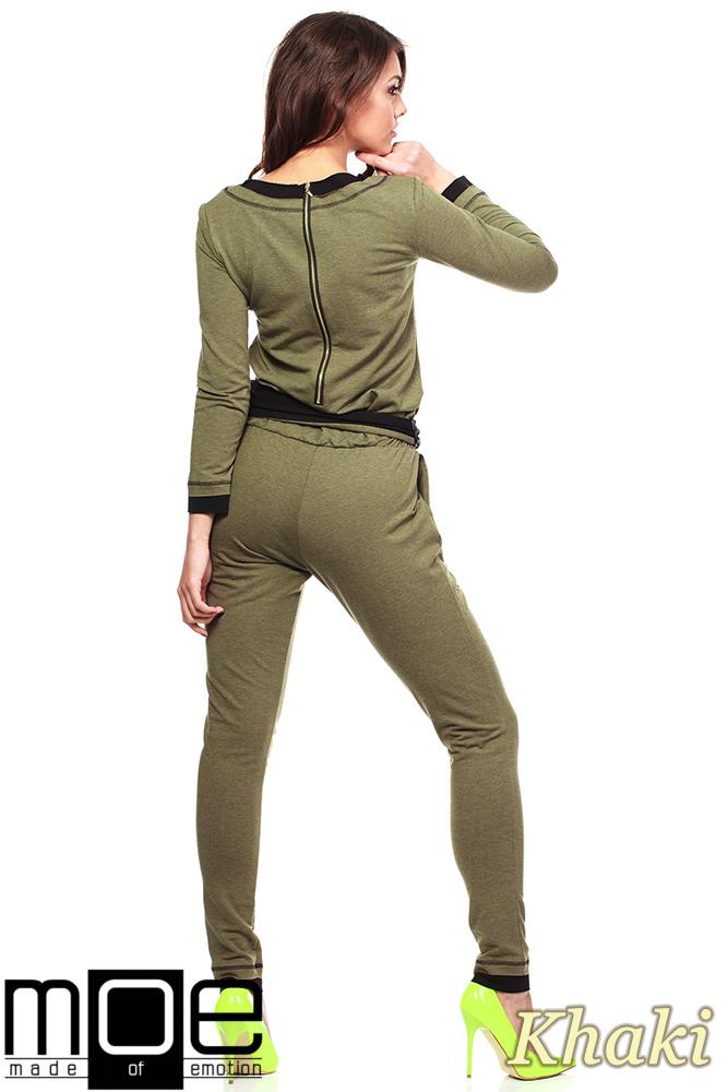 CM1091 Ciepły, dresowy kombinezon damski - khaki