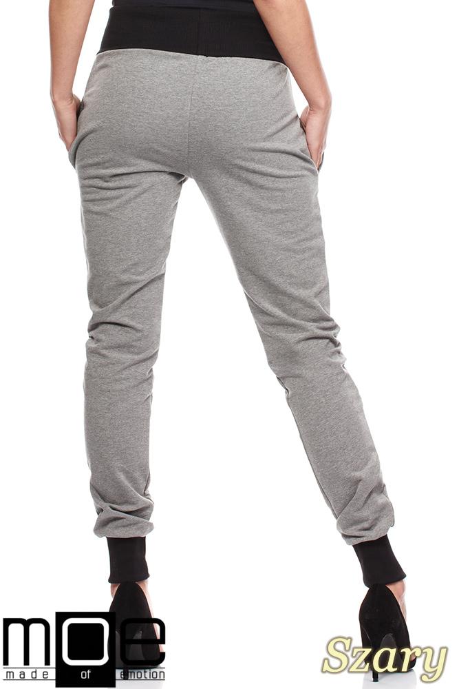 CM1181 Dresowe spodnie damskie ze ściągaczami - szare