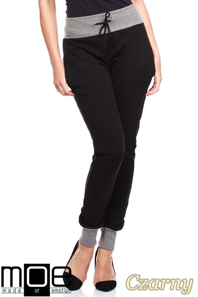 CM1181 Dresowe spodnie damskie ze ściągaczami - czarne