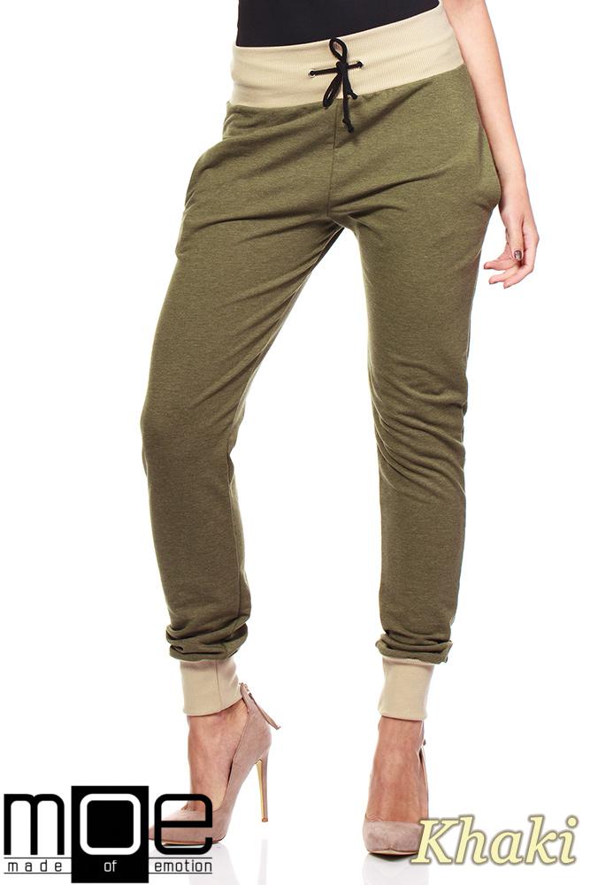 abe3ddf8 Dresowe spodnie damskie ze ściągaczami - khaki - Cudmoda
