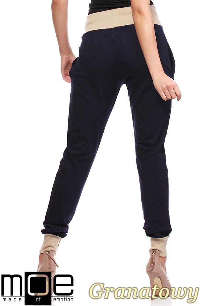 CM1181 Dresowe spodnie damskie ze ściągaczami - granatowe