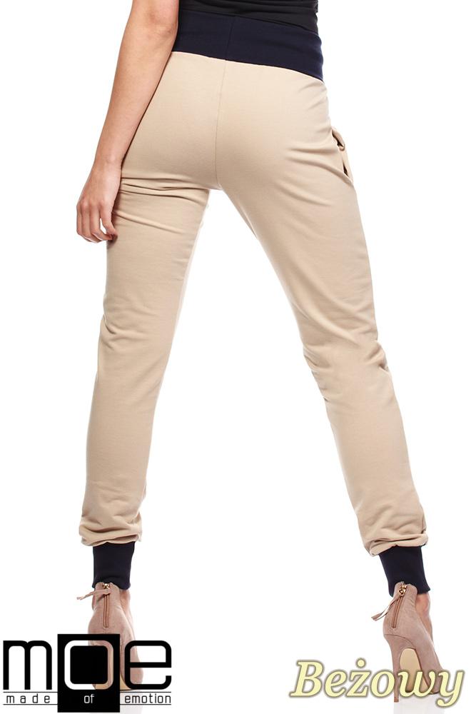 CM1181 Dresowe spodnie damskie ze ściągaczami - beżowe