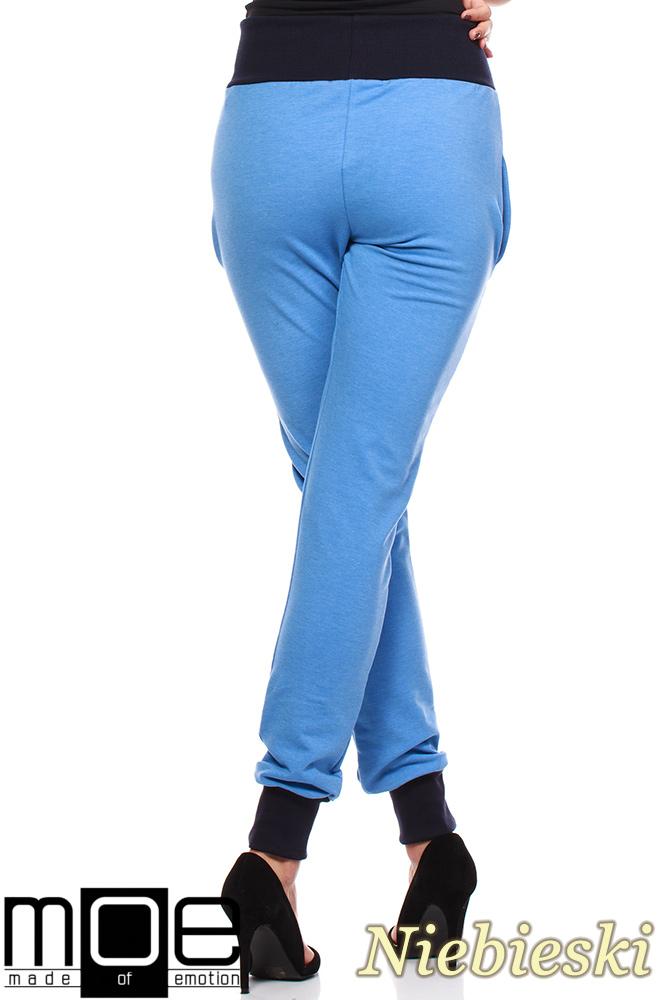 CM1181 Dresowe spodnie damskie ze ściągaczami - niebieskie