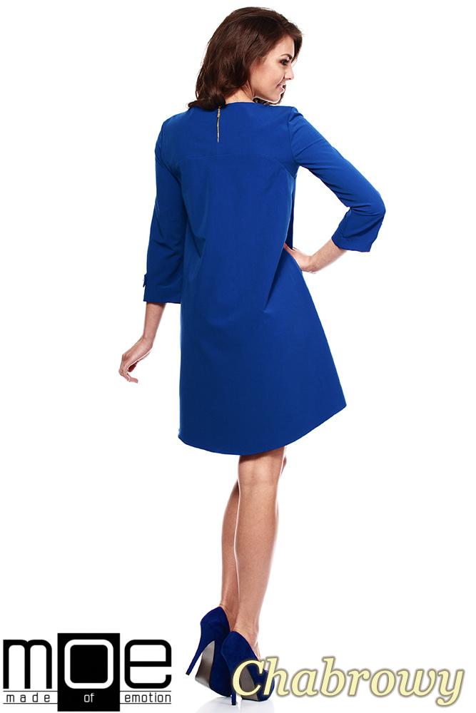 CM1150 Rozkloszowana sukienka na podszewce szeroki rękaw - chabrowa