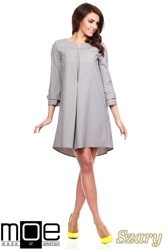 CM1150 Rozkloszowana sukienka na podszewce szeroki rękaw - szara