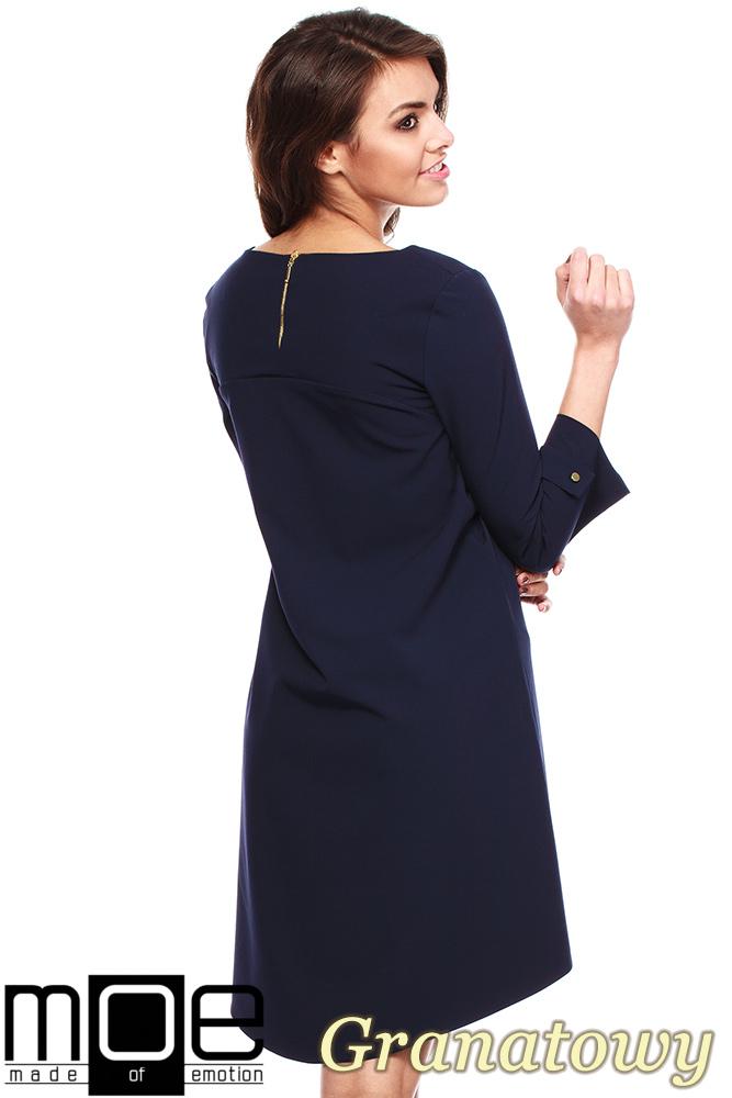 CM1150 Rozkloszowana sukienka na podszewce szeroki rękaw - granatowa