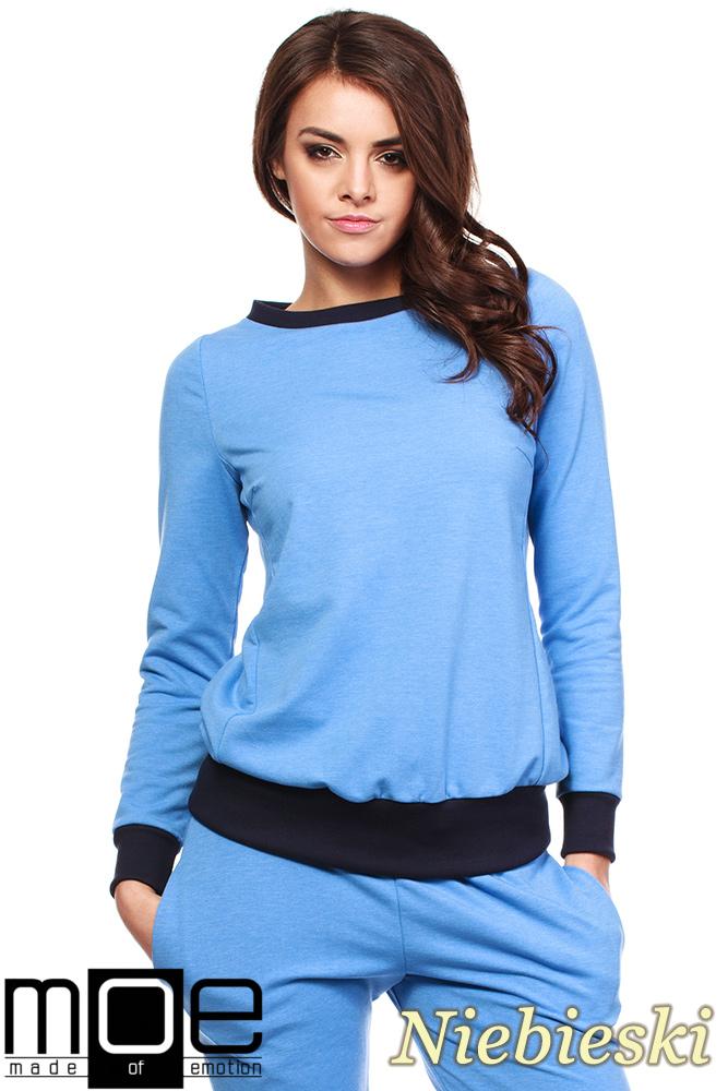 CM1184 Damska bluza dresowa ze ściągaczem - niebieska
