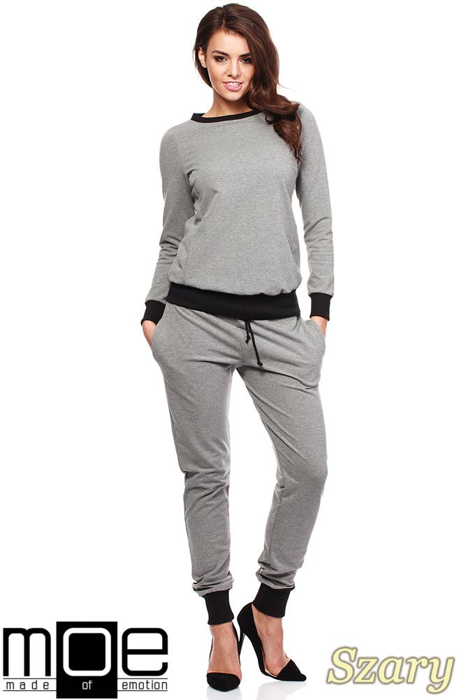 CM1184 Damska bluza dresowa ze ściągaczem - szara