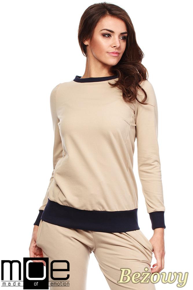 CM1184 Damska bluza dresowa ze ściągaczem - beżowa
