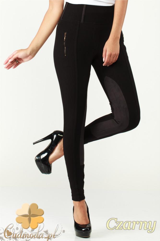 CM1182 Damskie spodnie bryczesy ze wstawkami zamszowymi - czarne