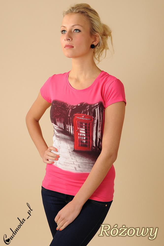 CM0078 Bluzeczka krótki rękaw t-shirt damski LONDON - różowa