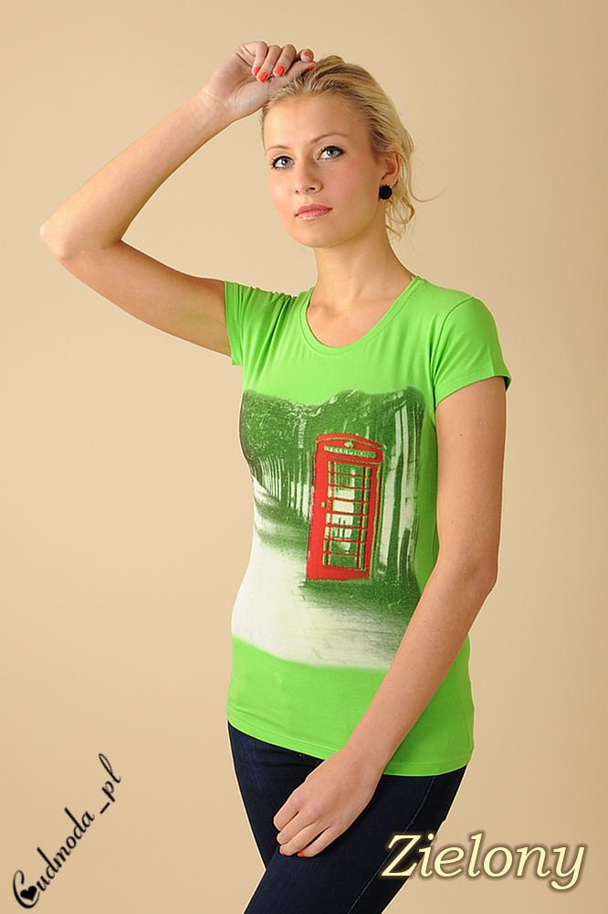 CM0078 Bluzeczka krótki rękaw t-shirt damski LONDON - zielona