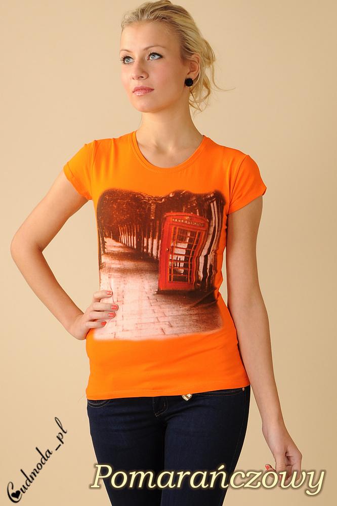 CM0078 Bluzeczka krótki rękaw t-shirt damski LONDON - pamarańczowa