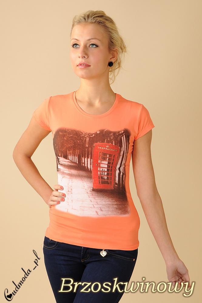 CM0078 Bluzeczka krótki rękaw t-shirt damski LONDON - brzoskwiniowa
