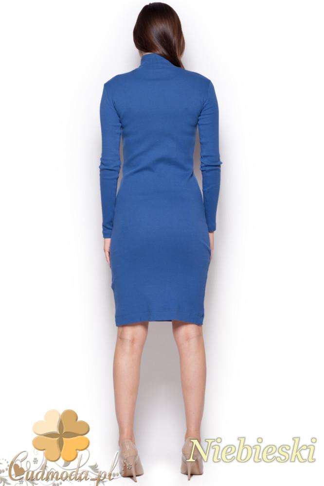 CM1177 Dopasowana sukienka midi z golfem - niebieska