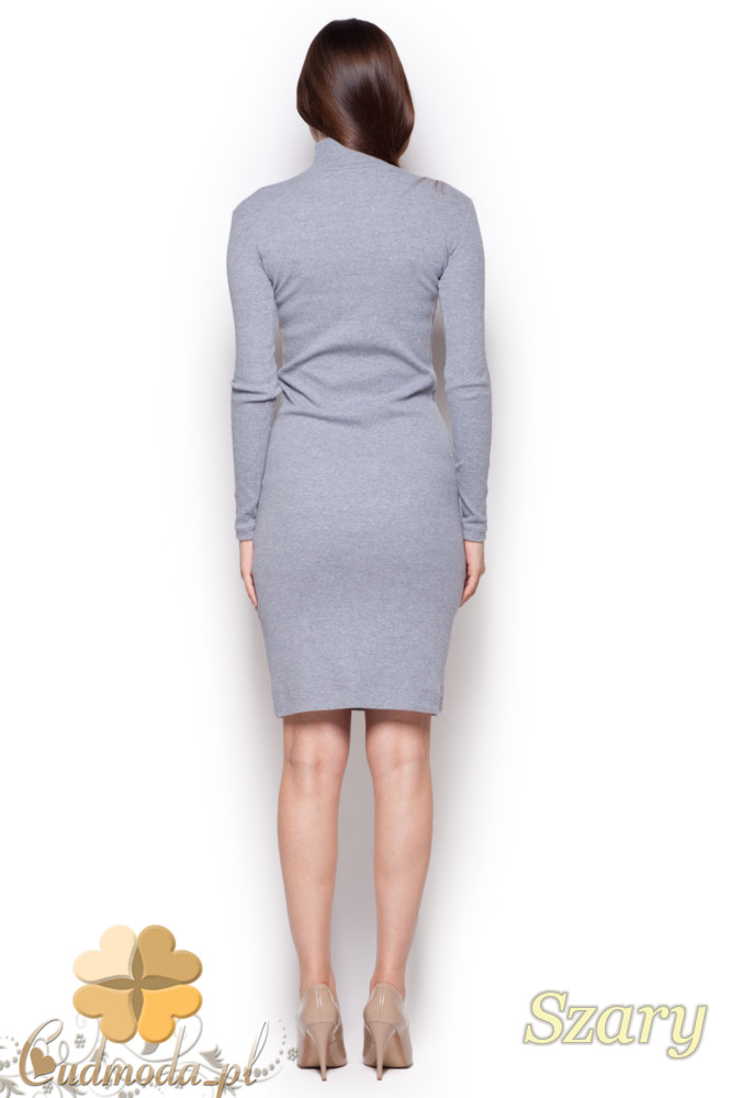CM1177 Dopasowana sukienka midi z golfem - szara