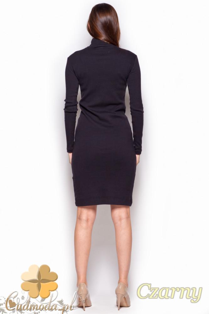 CM1177 Dopasowana sukienka midi z golfem - czarna