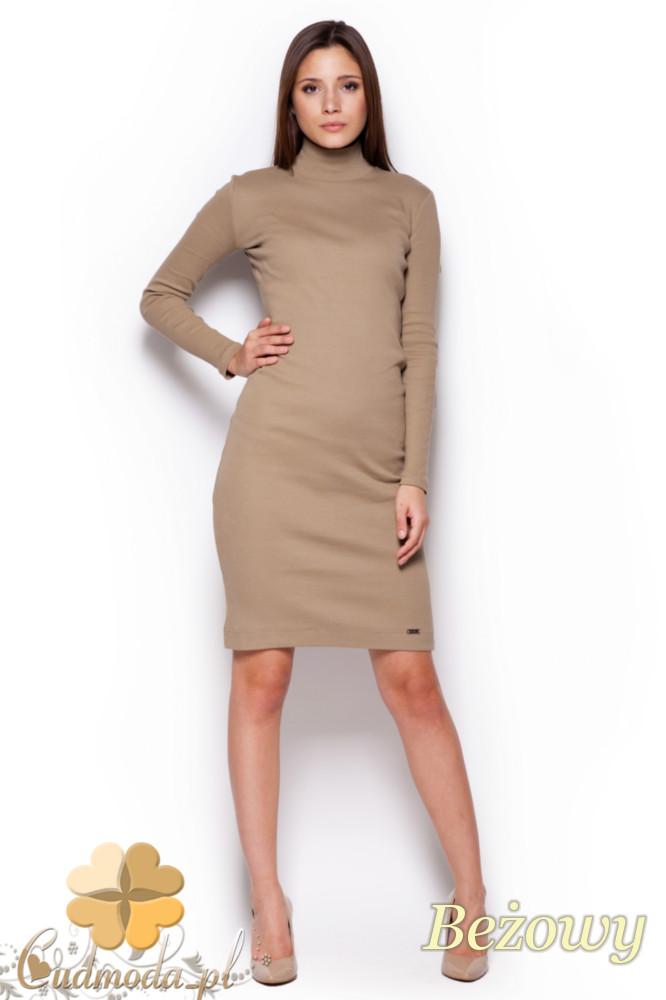 CM1177 Dopasowana sukienka midi z golfem - beżowa