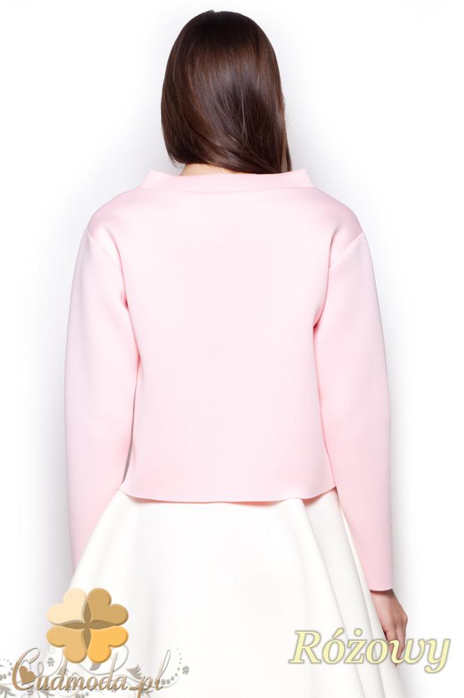 CM1190 Damska bluza piankowa na stójce - różowa