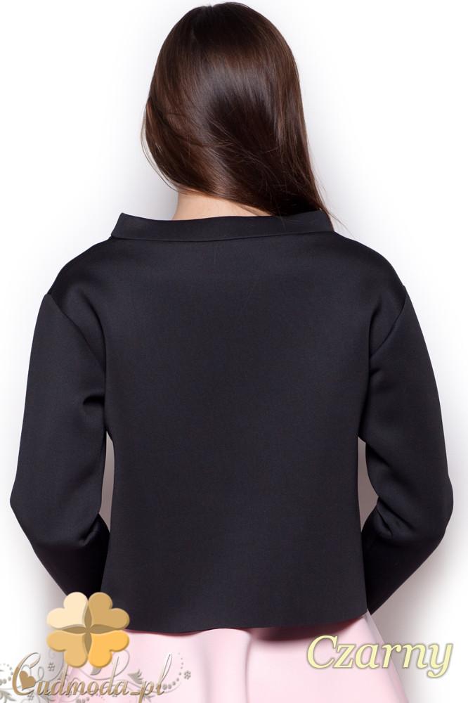 CM1190 Damska bluza piankowa na stójce - czarna