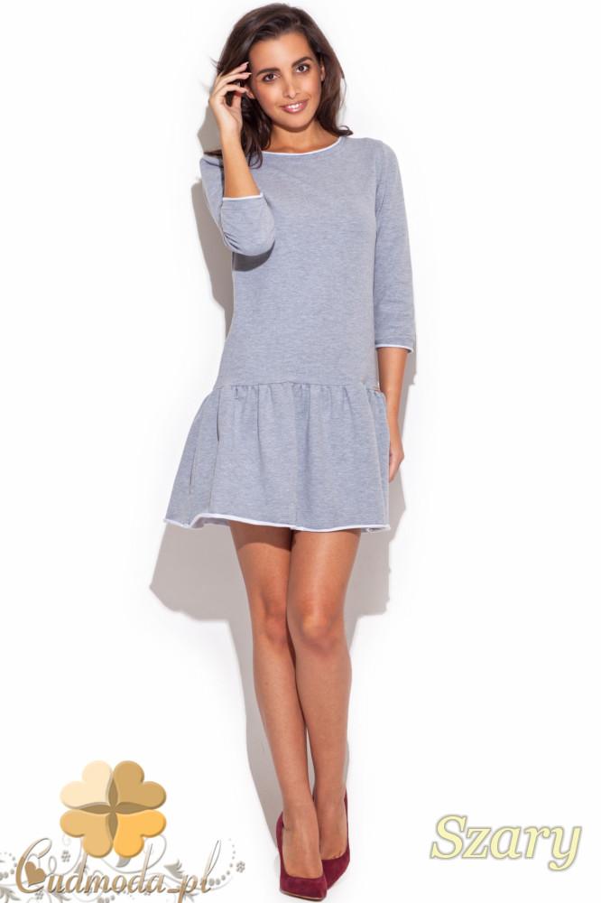 CM1191 Elegancka sukienka mini z falbanką i rękawem 7/8 - szara