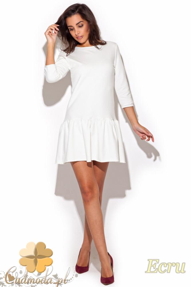 CM1191 Elegancka sukienka mini z falbanką i rękawem 7/8 - ecru