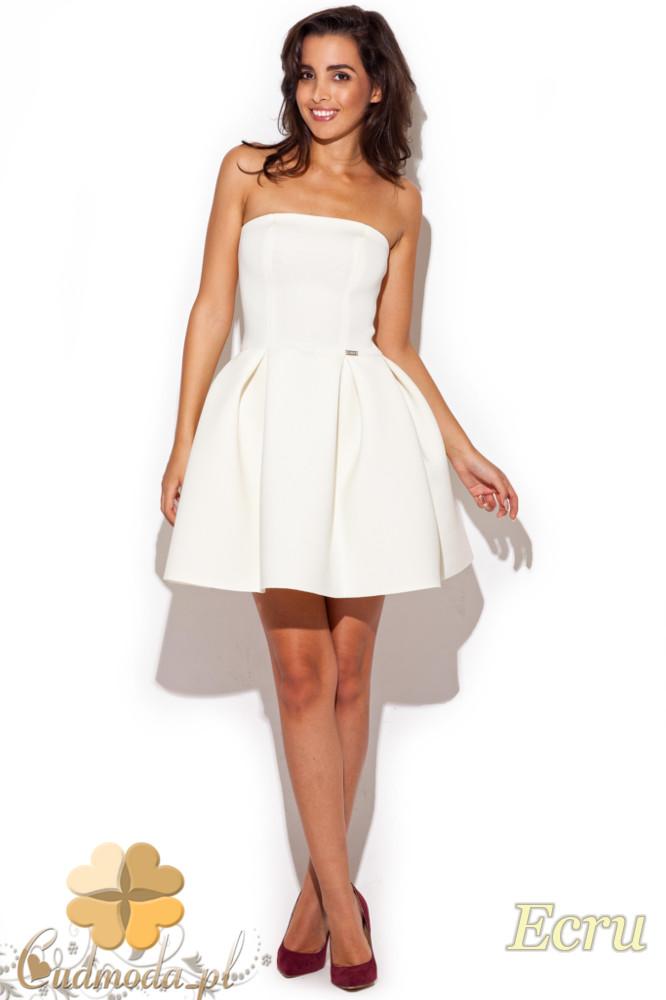 CM1192 Dopasowana gorsetowa sukienka piankowa - ecru