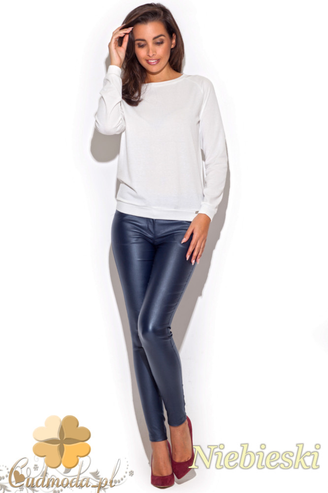 CM1196 Dopasowane damskie spodnie rurki - niebieskie