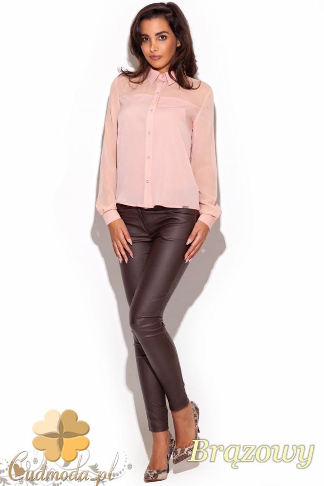 CM1196 Dopasowane damskie spodnie rurki - brązowe