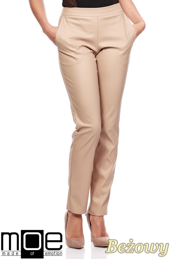 CM1187 Eleganckie spodnie damskie rurki z eko-skóry - beżowe