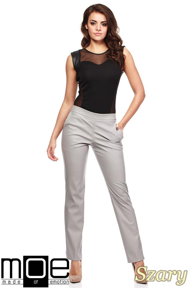 CM1187 Eleganckie spodnie damskie rurki z eko-skóry - szare