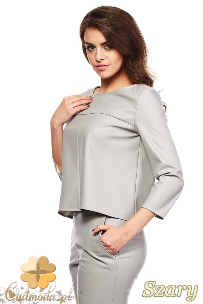 CM1188 Kobieca bluzka z eko-skóry i rękawem 3/4 - szara