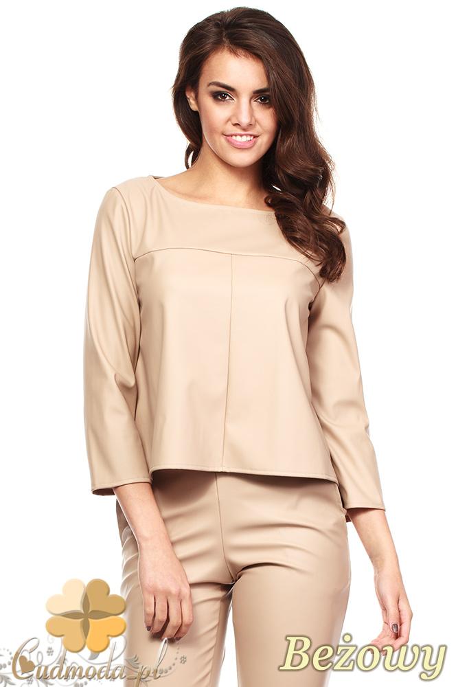 CM1188 Kobieca bluzka z eko-skóry i rękawem 3/4 - beżowa
