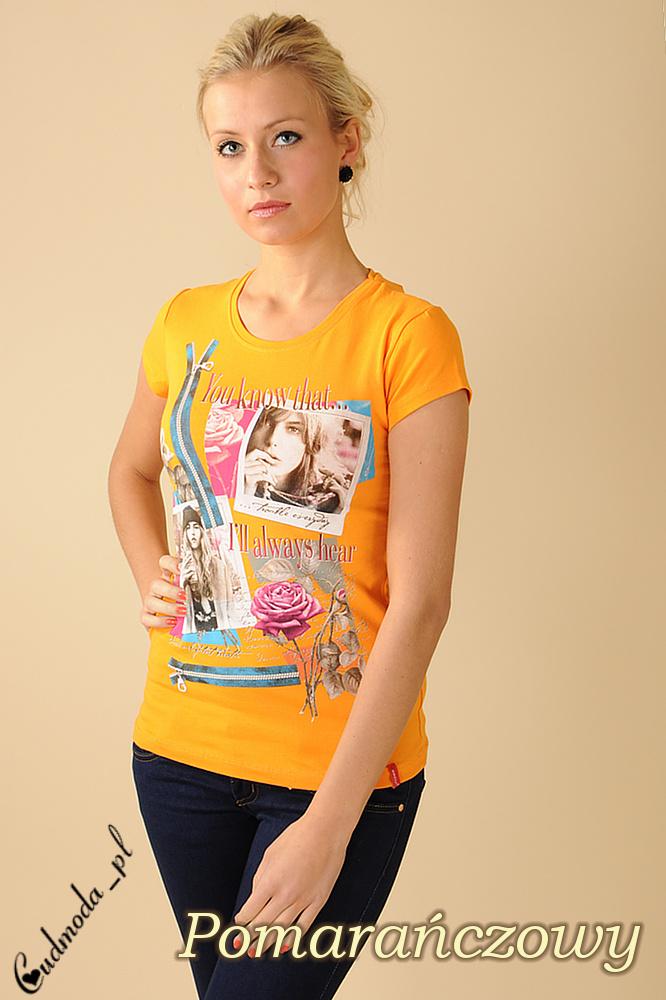 CM0076 Damski t-shirt bluzeczka krótki rękaw - pomarańczowa