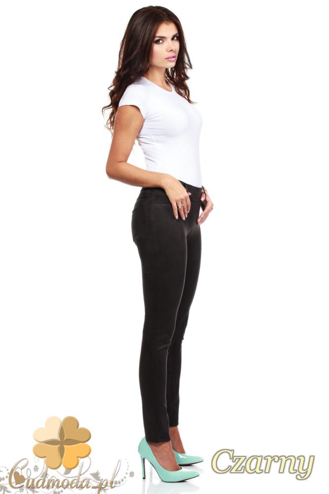 CM0133 Włoskie spodnie rurki  legginsy z zamszu - czarne