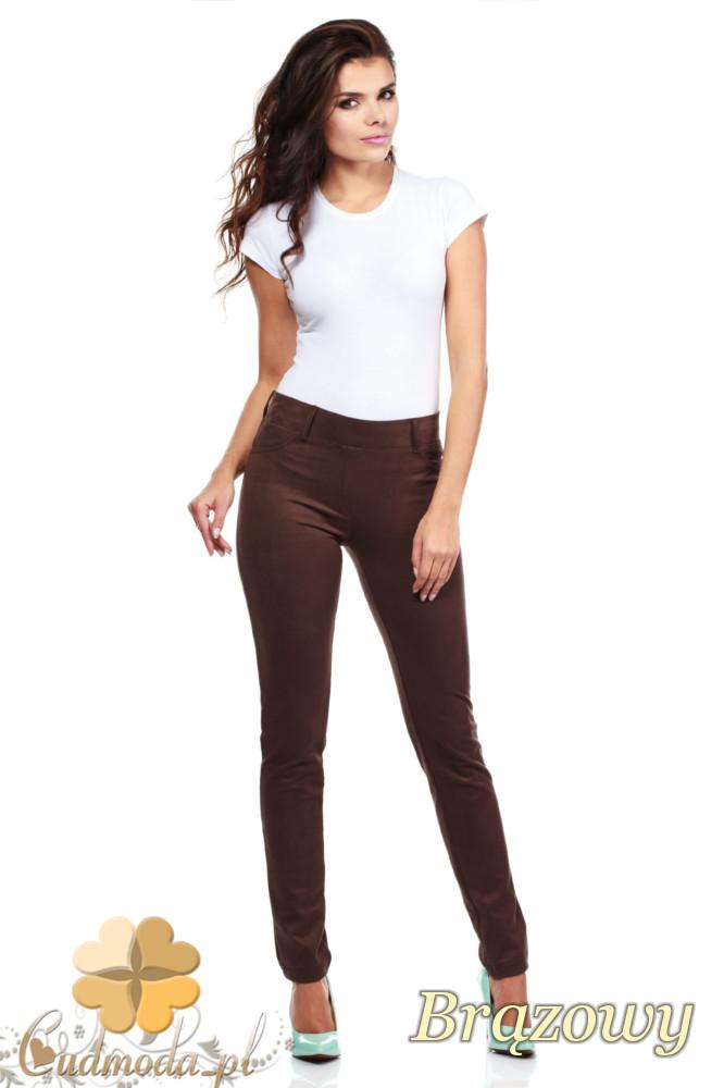 CM0133 Włoskie spodnie rurki  legginsy z zamszu - brązowe