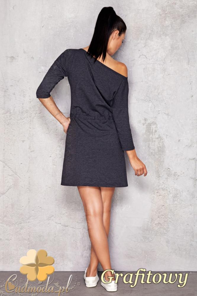 CM1201 Sukienka dresowa z grubej dzianiny - grafitowa