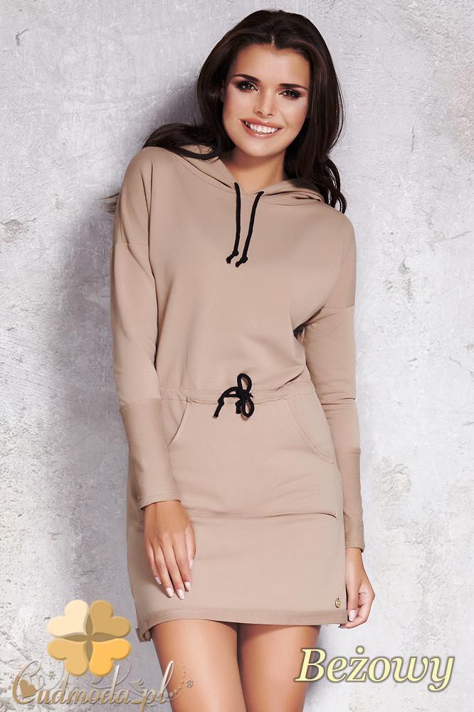 CM1208 Sukienka z kapturem i kieszenią typu kangurek - beżowa