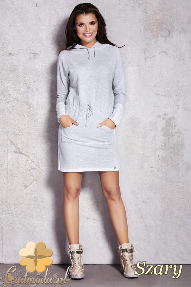 CM1208 Sukienka z kapturem i kieszenią typu kangurek - szara