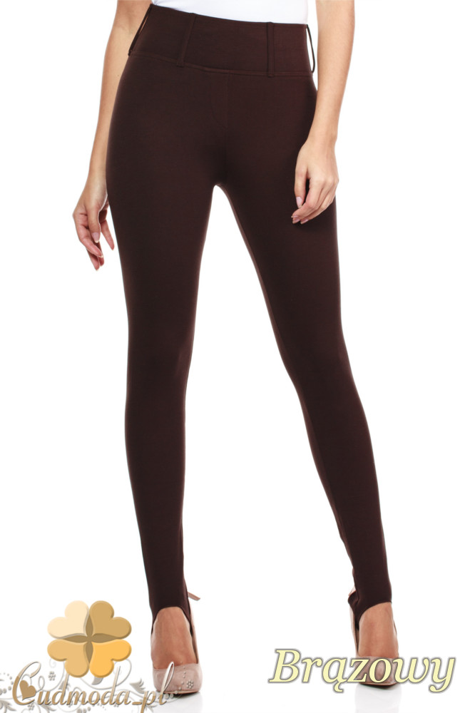 CM0158 Włoskie legginsy na wysokiej gumie z zapiętką i kieszeniami - brązowe
