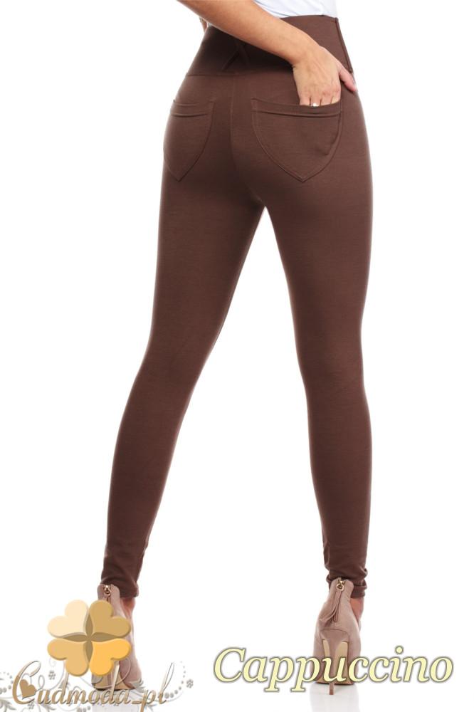 CM0035 Włoskie, klasyczne legginsy z wysokim stanem - cappuccino