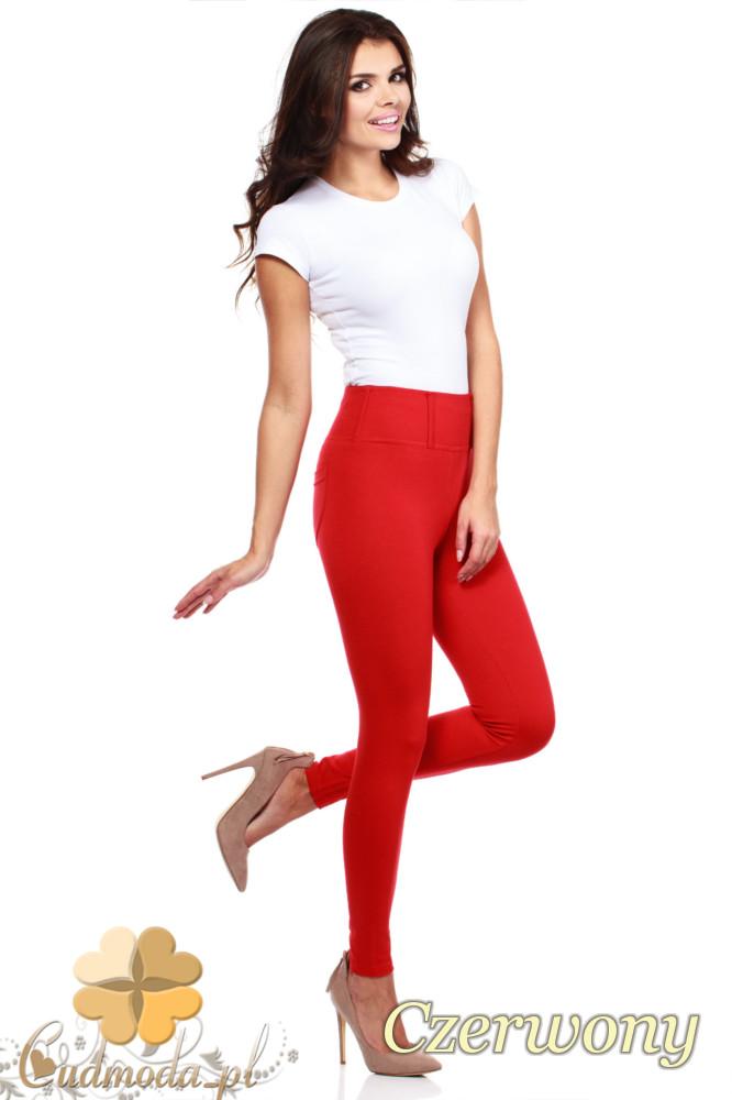CM0035 Włoskie, klasyczne legginsy z wysokim stanem - czerwone