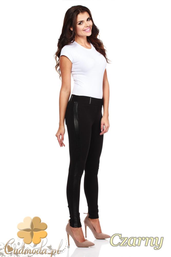 CM0159 Włoskie legginsy ze skórzaną wstawką na nogawce - czarne