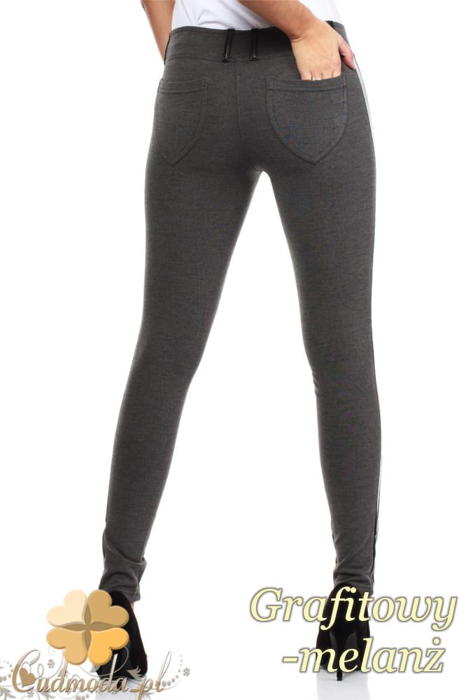 CM0159 Włoskie legginsy ze skórzaną wstawką na nogawce - grafitowy melanż