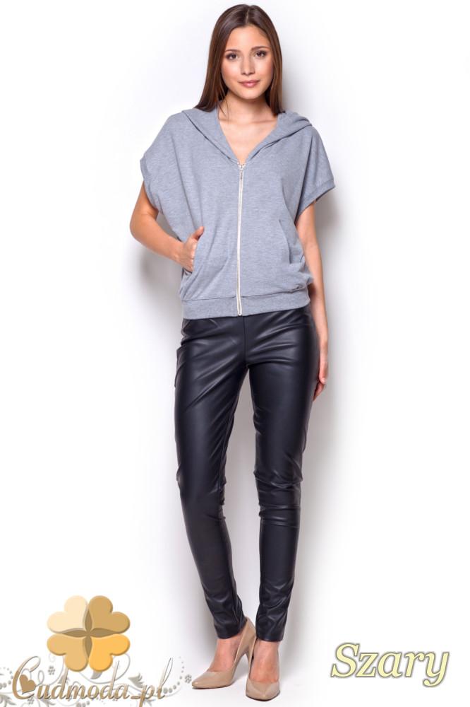 CM1214 Kobieca bluzka z kapturem typu bezrękawnik - szara