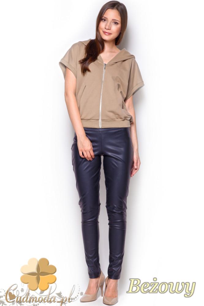 CM1214 Kobieca bluzka z kapturem typu bezrękawnik - beżowa