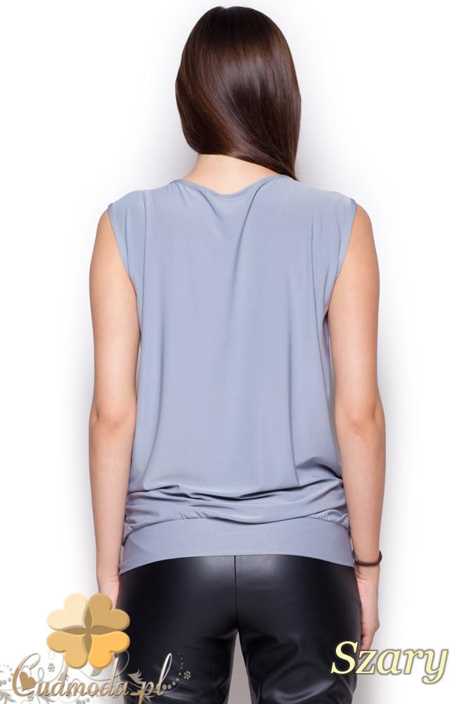 CM1216 Półprzezroczysta bluzka damska szyfonowa - szara