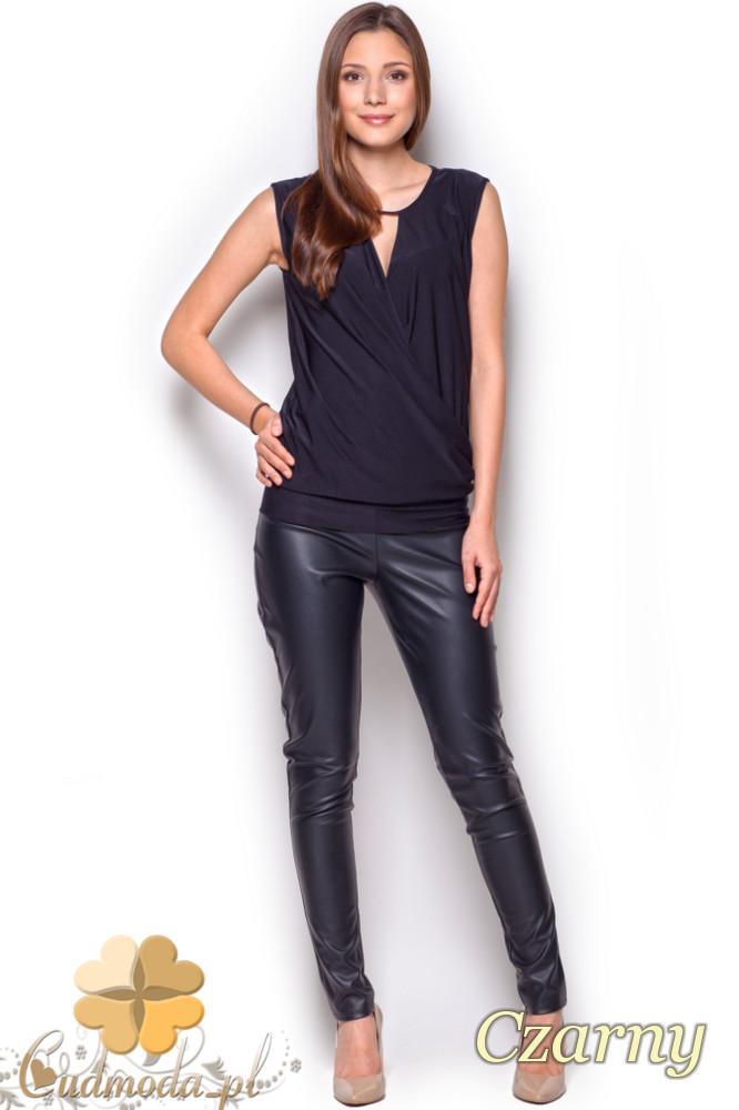 CM1216 Półprzezroczysta bluzka damska szyfonowa - czarna