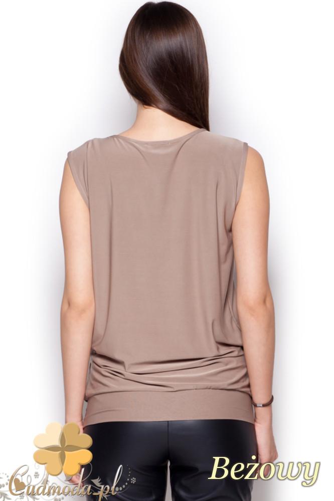CM1216 Półprzezroczysta bluzka damska szyfonowa - beżowa